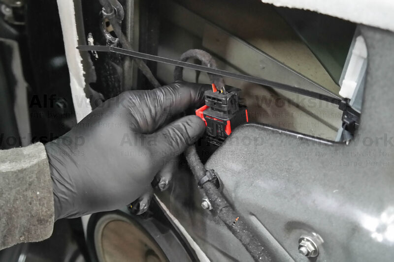 <p>Disconnect the plug to the window regulators motor.