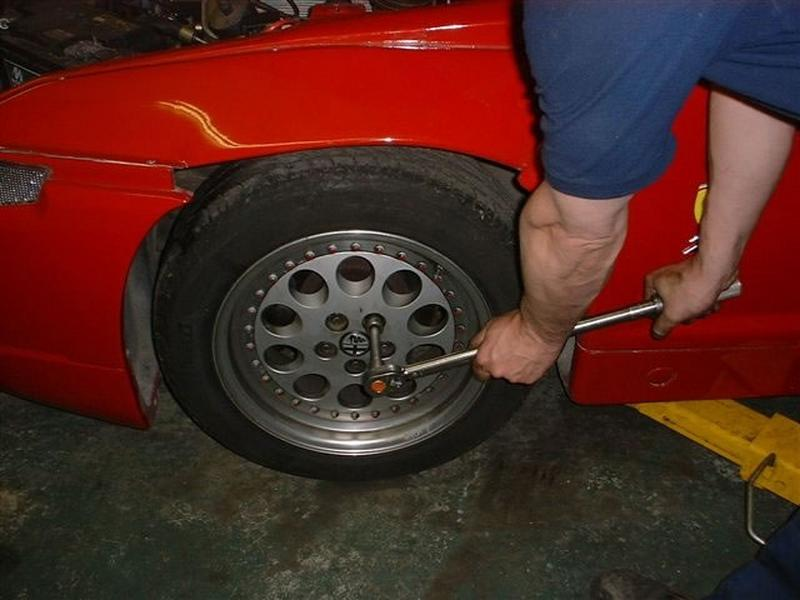 <p>Hand tighten wheel nuts, lower front end onto ground then tighten nuts to the correct torque setting.