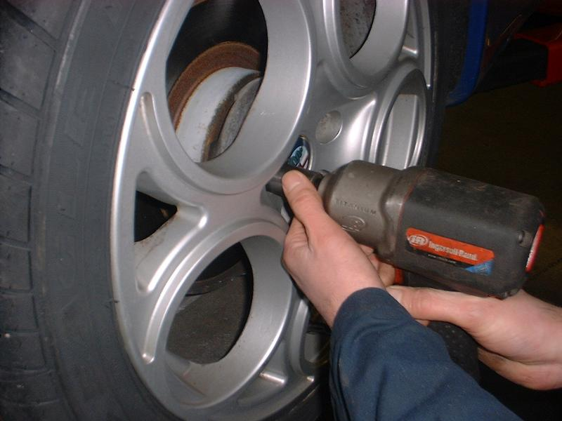 <p>Jack car up, when jacking the car up make sure it is secure and safe using an axle stand and then remove road wheel.