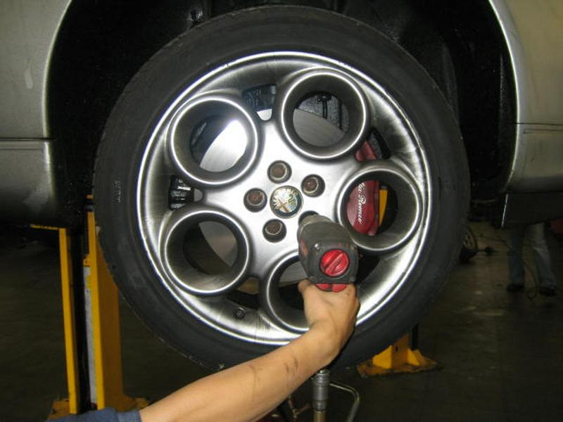 <p>Remove off side road wheel