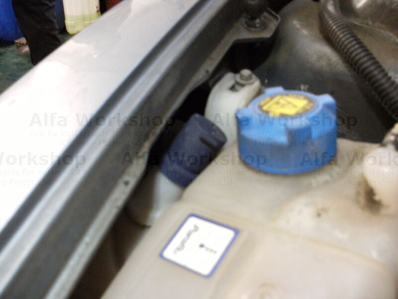 <p><p align='center' class='adbox'>Alfa Romeo 156, 147 and GT</p> The washer bottle is inside the left hand front wing as you face the engine bay. It has a dark blue flip top approx 1 inch (20mm) in diameter, DONT confuse this with the header tank for the coolant which has a screw on top and is slightly larger.