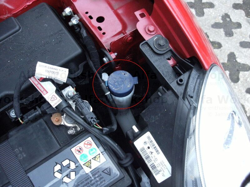 <p>As it is on a Giulietta, again circled in red behind the headlamp