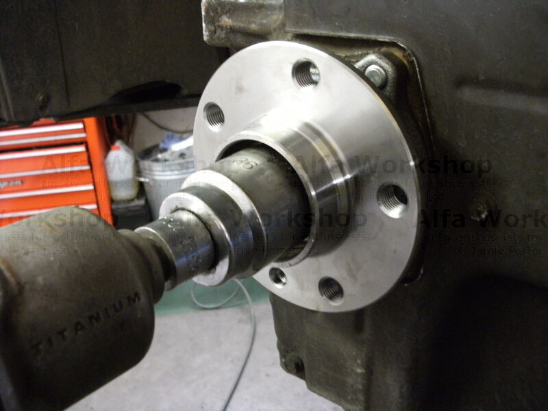 <p>Undo the hub nut, this can be a bit of a struggle without a nut gun.