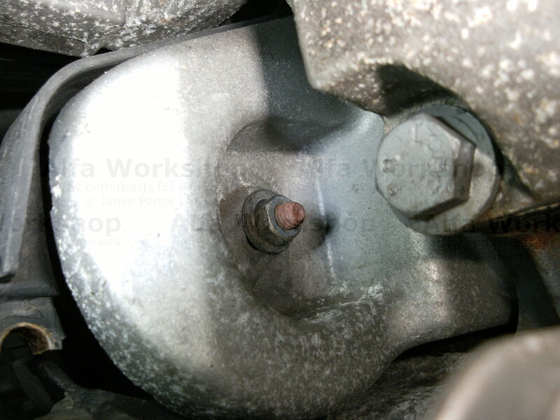 <p>Undo the balancer shaft belt tensioner bolt, it is next to the oil filter housing.