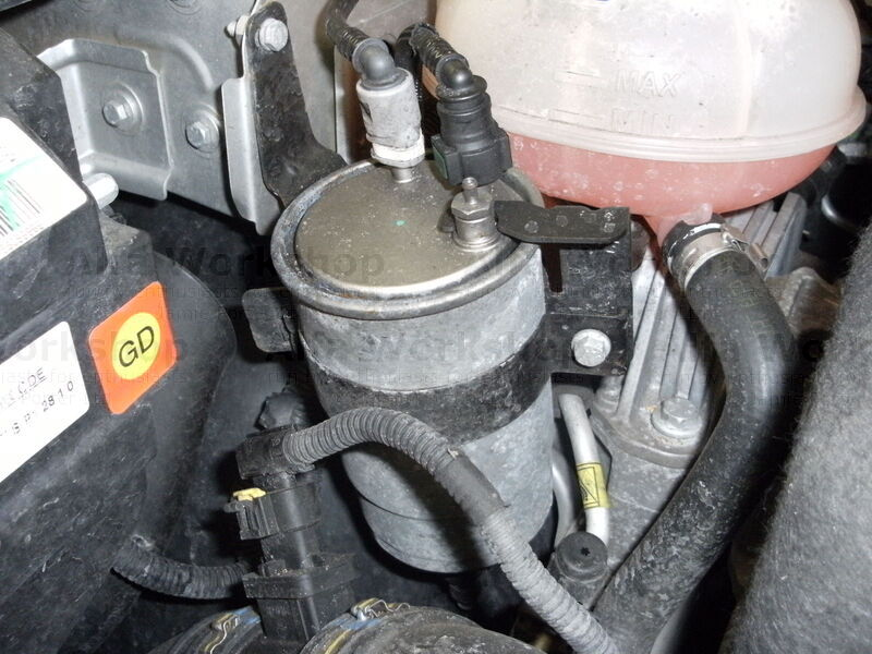 <p>The fuel filter is located under the bonnet by the left wing infront of the coolant tank