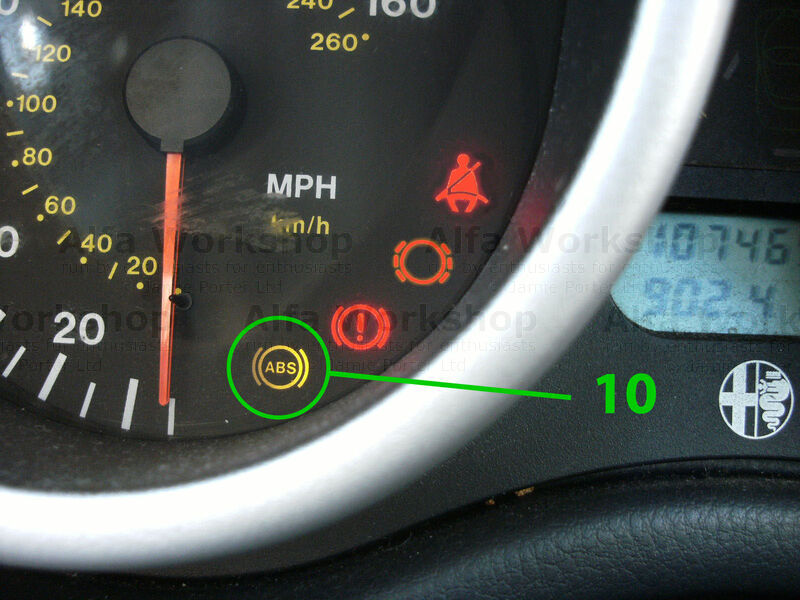 <p>Anti lock braking system warning light, if this is on the ABS is off, the most usual issues are with wheel speed sensors.