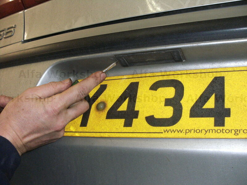 <p>Using a blade screw driver push the number plate lamp holder towards the right hand side of the car.