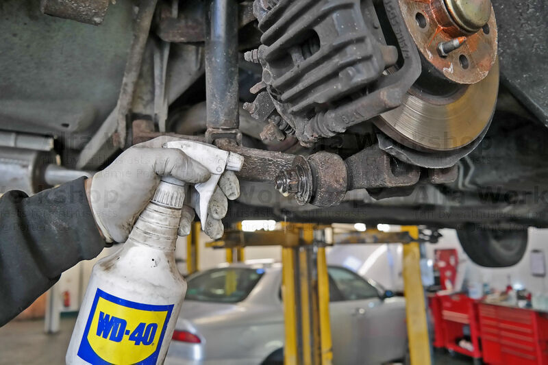 <p>It helps to spray rusty bolts with penetrating oil.