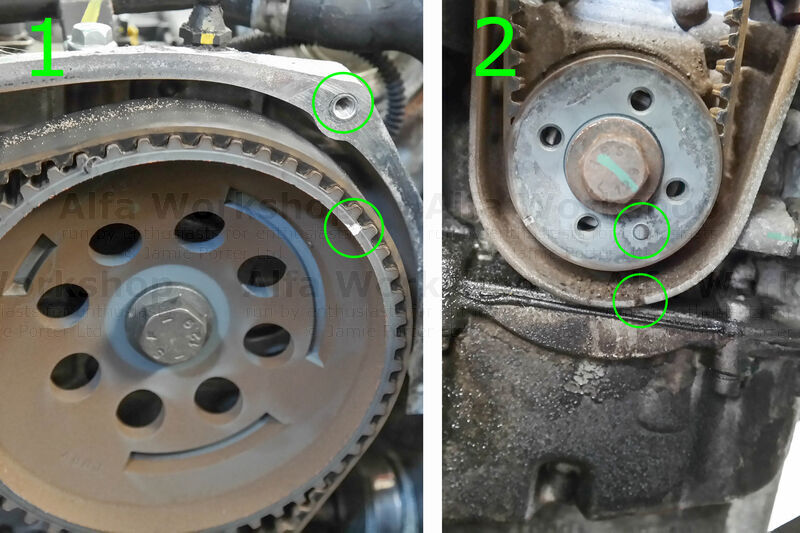 <p>Using a spanner on the bolt head of the cam shaft pulley rotate clockwise until the timing mark on the pulley (pic 1) and bottom drive gear (pic 2) are roughly in position.