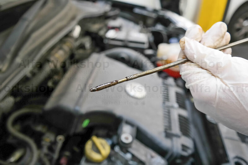 <p>Start the engine briefly to circulate the oil then check the level on the dip stick and top up if required.