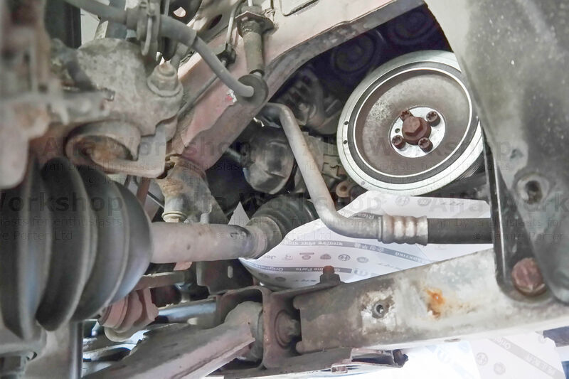 <p>.... as it tends to hit the sub frame and make a mess so use a scrap piece of card to funnel the oil. Once it's stopped leaking remove the housing and filter.