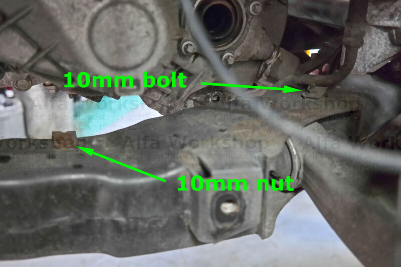 <p>On the left hand side of the sub frame undo the 10mm bolt and 10mm nut to the power steering hose.