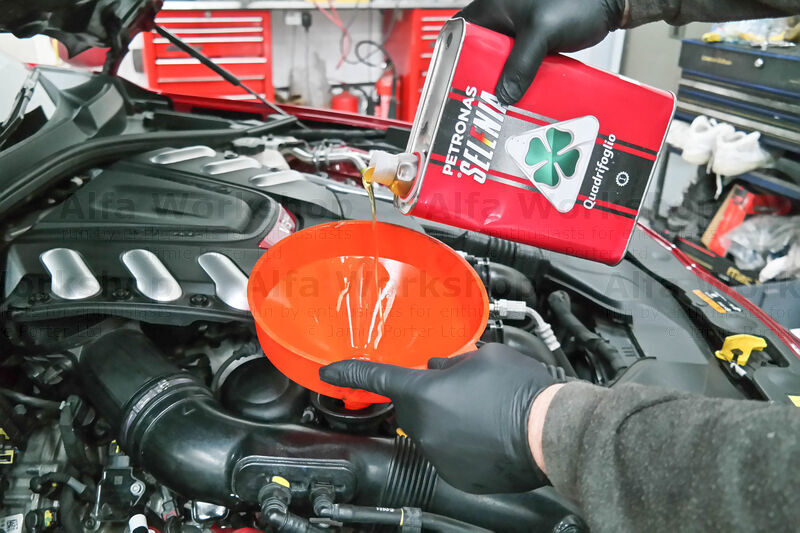 <p>Pour in the recommended engine oil (about 7.5 litres but check your hand book) and screw the filler cap back on.