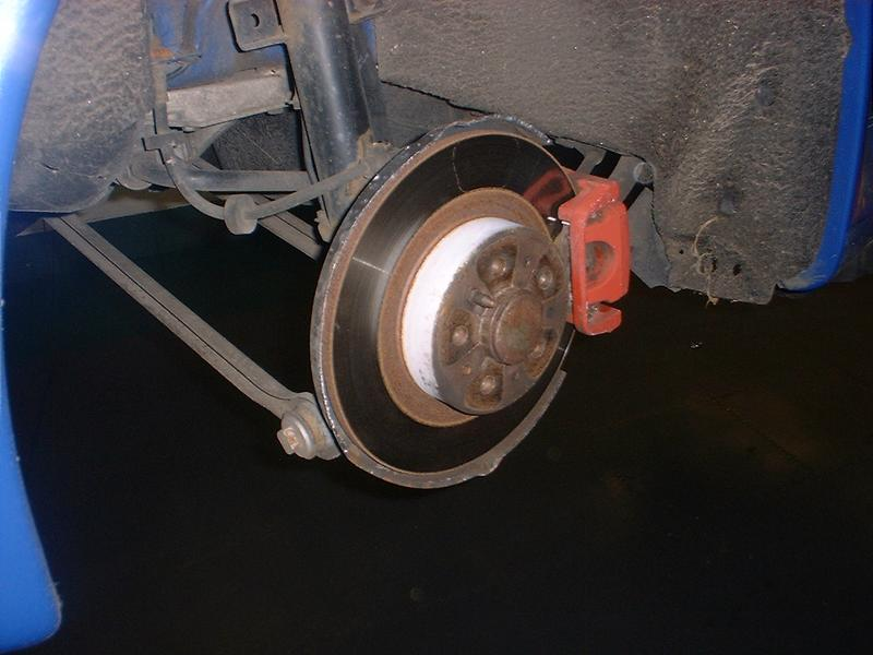 <p>Remove brake calliper and brake pads and put brake pads somewhere where they will not get contaminated.
